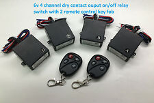 MSD 6V 4 channel dry contact on-off wireless remote key fob relay switch RS64