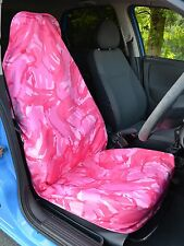 Pink Camouflage Camo Waterproof Car / Van Single Front Seat Cover & Free P&P!