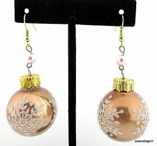 Rose Gold Snowflake Glass Ball Ornament Earrings,Vintage Beads,Holiday,Party