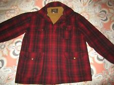 Vtg 1950s Woolrich Woolen Mills Red Black Checkered Wool Hunting Coat Mens XL 46