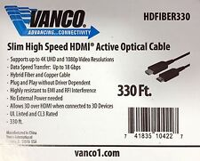 NEW Vanco HDFIBER330 Slim High Speed HDMI Active Optical Cable, 330ft