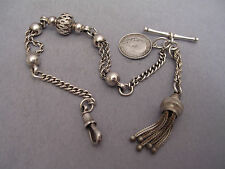 FABULOUS ORNATE SILVER ALBERTINA POCKET WATCH CHAIN, TASSEL & COIN DATED 1919