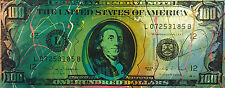 Old $100 Hundred Dollar Bill by Steve Kaufman SAK 14/50 CP 15x37 Painting