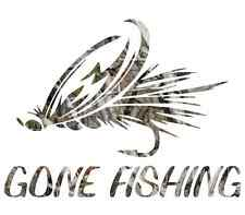 """8"""" Camouflage Gone fishing skillet funny sticker cool gift for him fly decal"""