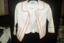 GORGEOUS MOSCHINO WHITE/ORANGE TRIM JACKET SZ 12...BNWT