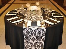 15 Black White Flocked Taffeta Damask Table Top Runners Wedding Tablerunners