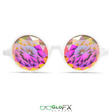 GloFX White Kaleidoscope Glasses – Rainbow Fractal – Flat Back Stylish Goggles