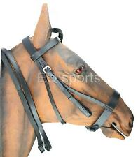 FAST P&P Plain Caveson Leather Hunter/Hunting Bridle X-Full BLK Rubber grip Rein