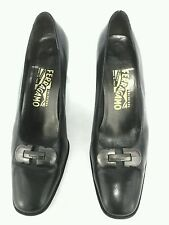 Salvatore Ferragamo Pumps Calf Leather Black Career Shoes US 9 M EU 39-40