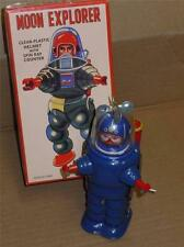 """7"""" Schylling Wind Up Friction Moon Explorer Tin Blue Robot Toy TR2019/2020 Box"""