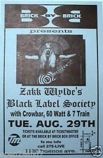 ZAKK WYLDE'S BLACK LABEL SOCIETY 2000 SAN DIEGO CONCERT TOUR POSTER -Metal Music