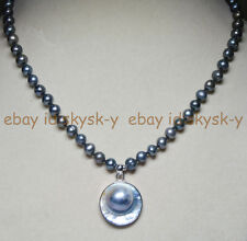 "25mm Natural South Sea pearl pendant necklace 7-7.5mm Black pearl strand 18"" AAA"