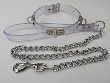 """clear pvc collar and chain lead fetish bondage  slave  12-15""""  20mm wide"""