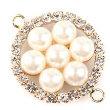 6pcs Gold Dot Rhinestone Inlay ABS Pearl Alloy Pendants Connector Findings C
