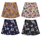 New Womens Floral Print High Waisted Flared Hot Pants Skirt Zip Shorts UK 6-14