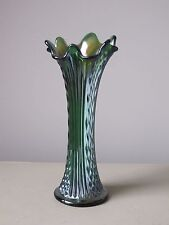 Fenton Diamond Point Columns Green Carnival Glass Vase 10""