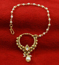 Wedding Bridal Nath Hoop Chain Accessory Goldtone Nose Ring Traditional Jewelry