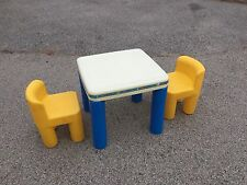 Vintage LITTLE TIKES CHILD SIZE 1 Table & 2 chunky Yellow chairs Play Set