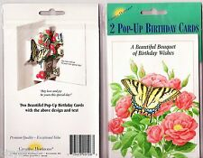 2 Creative Horizons Old Fashioned Pop Up Birthday Cards NIP Wild Roses Butterfly