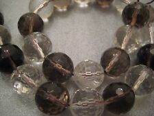 Crystal/Smoky Quartz 14mm Faceted Round Beads 28pcs