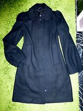 SISLEY Of BENETTON Black WOOL Classic COAT Peacoat Trench S EUR 42 M US 6