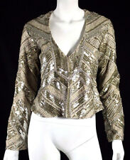 HAUTE HIPPIE $1,650 Nude & Gold Sequin Beaded Embellished Jacket XS