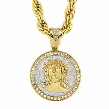"""Gold Tone with Silver Stardust Jesus faca Large Pendant 10mm 30"""" Rope Chain"""