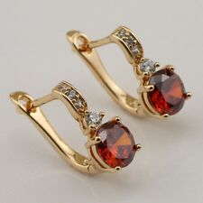 Beautiful Red Ruby Fashion Jewelry Gift Gold Filled Huggie Earrings er801