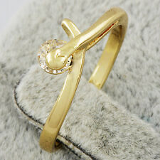 2016 HOT Womens 14K Gold Filled Clear Cubic Zirconia Finger Ring Jewelry Size 9