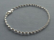 "NEW-ITALIAN STERLING SILVER  BRACELET- 8"" -TWISTED SHIMMERY LINK- ITALY925"