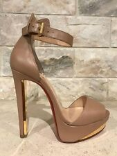 NIB Christian Louboutin Tuctopen 140 Nude Ankle Platform Pump Heel 35 $1095