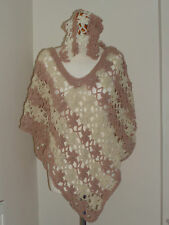New Handmade poncho ,unique Flower stitches ,CAPE TOP ivory & Pink with headband