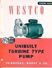 """Vintage """"WESTCO"""" Sales Brochure: TURBINE PUMP Model 6810"""