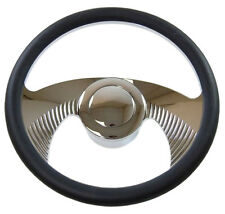 """14"""" Billet Chrome Hawk Wing Steering Wheel with Leather, adapter, horn Button"""