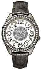 Guess Women's W13096L2 Clearly Quiz Diamonds Black Leather Strap Watch - NEW