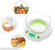 5Kg 1g LCD Digital Electronic Scale Kitchen Food Weighing Tool with Bowl