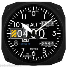 "New Trintec 10"" Modern Altimeter Style Aviation Instrument style Clock Aviator"