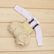 "Takara 12"" Blythe Azone Doll Outfits grey Bib & white shirt new hot sale limited"