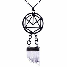 Restyle Circular Geometry Symbol Clear Crystal Quartz Drop Occult Witch Pendant