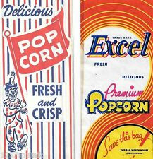 8 Excel Premium, Delicious Popcorn Vintage Country Store Movie Pop Corn Bags