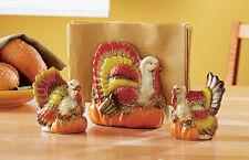 Turkey Salt & Pepper Shaker Napkin Holder Thanksgiving Dinnerware Table Set SALE