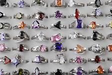 2pcs Wholesale Fashion Zircon Gemstone Metal Silver Plated Ring Lots Jewlery