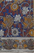 Cotton kalamkari block print fabric - 100 cms length by 43 inches Ink Blue Base