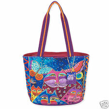 Laurel Burch Cats With Butterflies Purple Fushia Teal Medium Tote Bag NWT