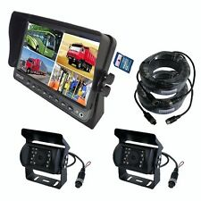 "A81 9"" QUAD MONITOR BUILT-IN DVR CAR REAR VIEW CAMERA KIT FOR TRUCK TRAILER RV"