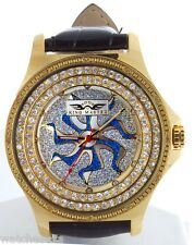 King Master Gold-tone Steel Case Diamond Bezel Men's Leather Band Watch 124M-L3