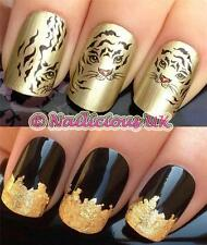 NAIL ART SET #55. TIGER STRIPES FACE WATER TRANSFERS/DECALS/STICKERS & GOLD LEAF