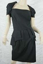 CUE black wool blend pencil wiggle peplum corporate work dress size 14 BNWT