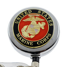 Marine Corps Chrome Retractable Badge Reel ID Holder USMC Emblem Military