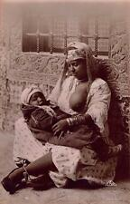 Vintage REAL PHOTO Postcard Moorish Woman and her child Morocco #2